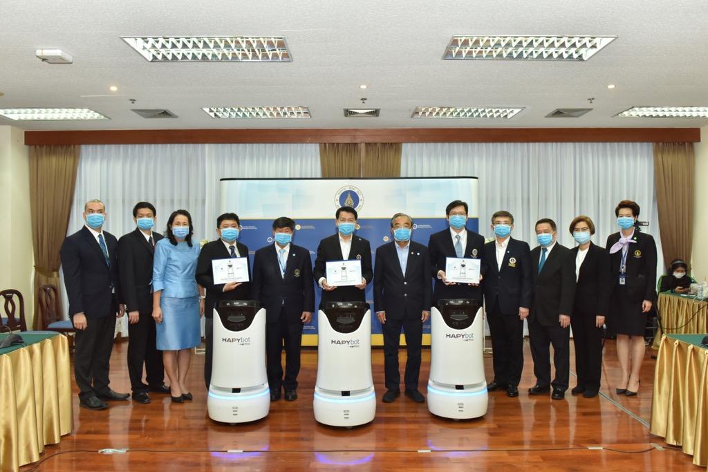 มหาวิทยาลัยมหิดล แถลงข่าวการใช้หุ่นยนต์ทางการแพทย์รองรับสถานการณ์ การแพร่ระบาดของโรคติดเชื้อ และรับมอบ Hapybot หุ่นยนต์เคลื่อนที่อัจฉริยะ